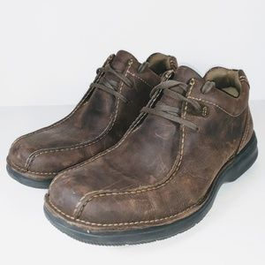 Clarks Mens Shoes Brown Leather Low Cut Boots